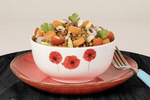 Salade de lentillons du Perche et truite fumée