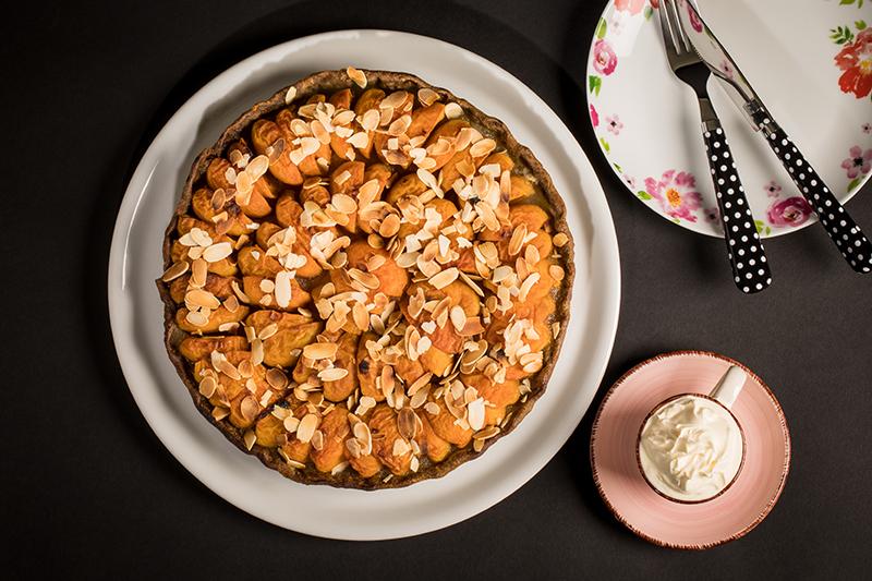 Tarte pommes abricots, pâte brisée farine de chanvre