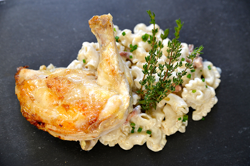 Suprême de volaille et ses pâtes façon carbonara